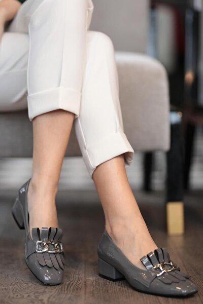 Lottie Gri Rugan Topuklu Ayakkabı