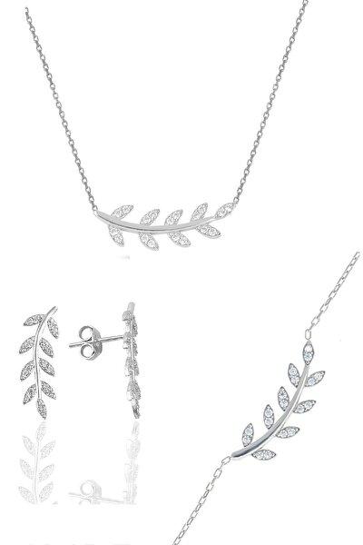 Gümüş Rodyumlu Zirkon Taşlı Yaprak Üçlü Set