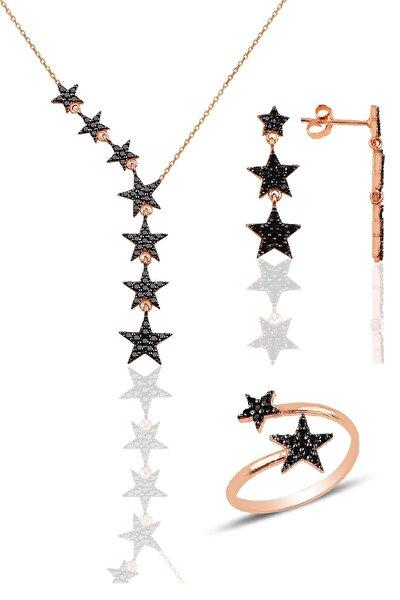 Gümüş rose siyah taşlı kuyruklu yıldız kolye kupe ve yüzük üçlü set