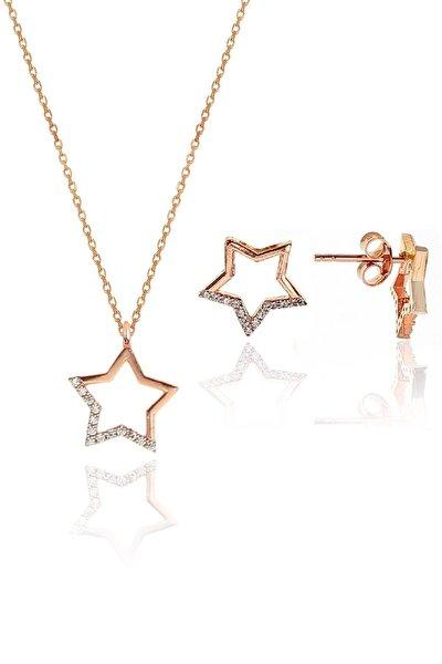 Gümüş rose zirkon taşlı yıldız kolye ve küpe gümüş ikili set