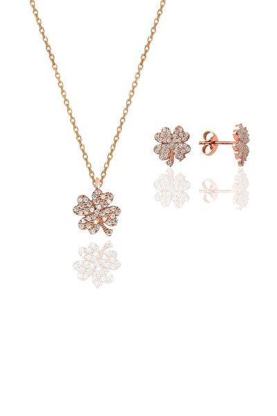 Gümüş rose zirkon taşlı yonca kolye ve küpe gümüş ikili set