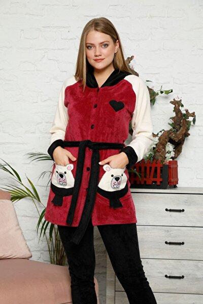 Kadın Bordo Kuşaklı Kapüşonlu Kadife Pijama Takımı
