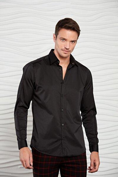 Erkek Siyah Kolu Nervürlü Dokuma Gömlek
