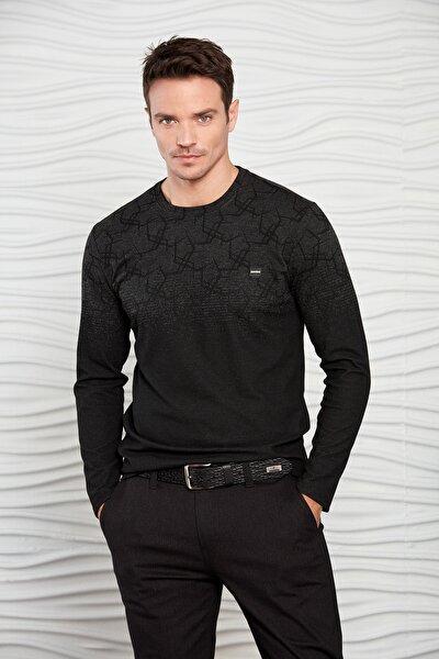 Erkek Siyah Renk Geçişli Geometrik Desenli Sweatshirt
