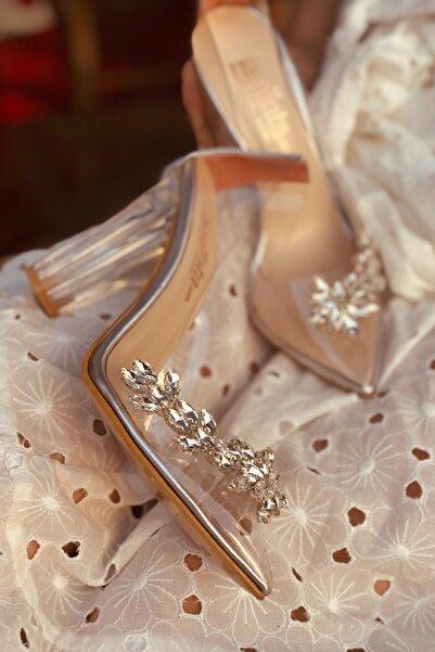 Princess Gümüş Şeffaf Kadın Topuklu Ayakkabı