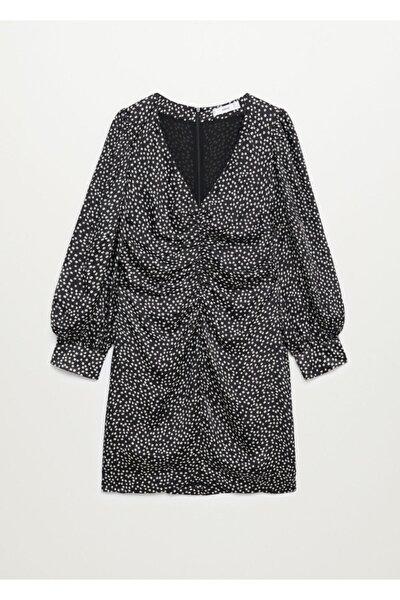 Kadın Siyah Desenli Drapeli Elbise