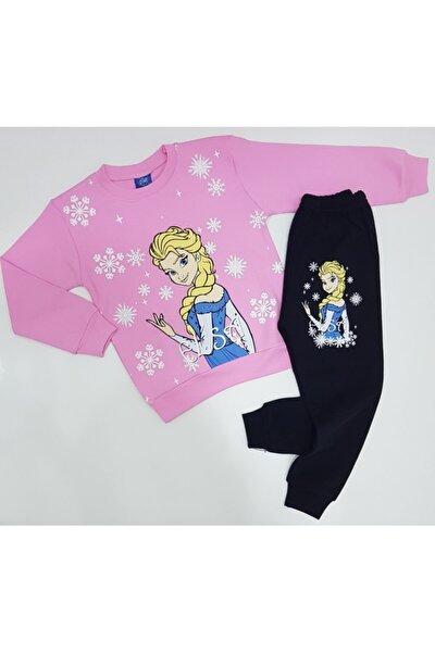 Kız Çocuk Pembe  Elsa Desenli %100 Pamuk Pijama Takımı