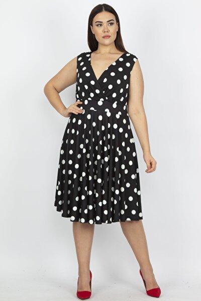 Kadın Siyah Puan Desenli Anvelop Arka Bel Lastik Detaylı Elbise 65N19620
