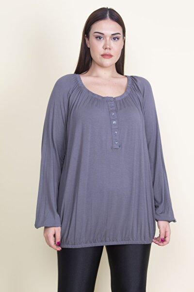 Kadın Füme Yaka Kol Etek Lastik Detaylı Pat Dügmeli Viskon Bluz 65N21094