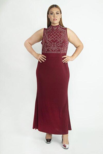 Kadın Bordo Taş İşli Abiye Elbise 65N20690