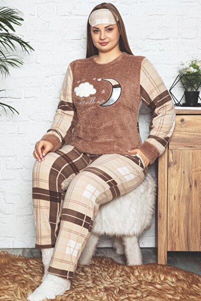Kadın Kahverengi Just Desenli Büyük Beden Battal Peluş Pijama Takımı