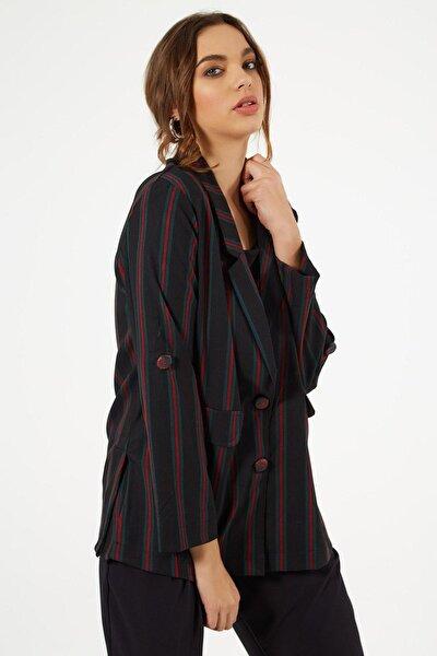 Kadın Çizgili Süs Cep Kapaklı Ceket Y19w109-38003