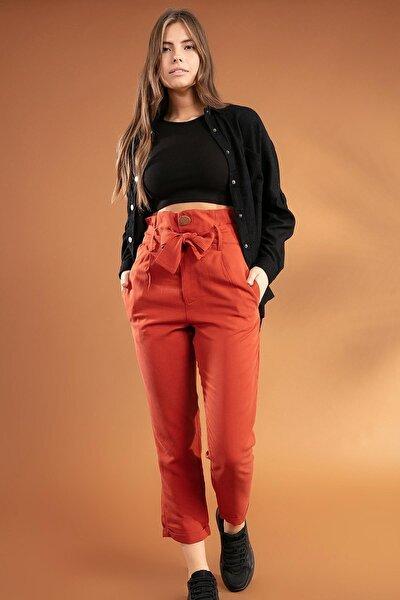 Kadın Belden Bağlamalı Duble Paça Yüksek Bel Pantolon 39521