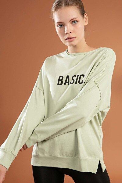 Kadın Basic Baskılı Boyfriend Örme Sweatshirt Y20w155-6048