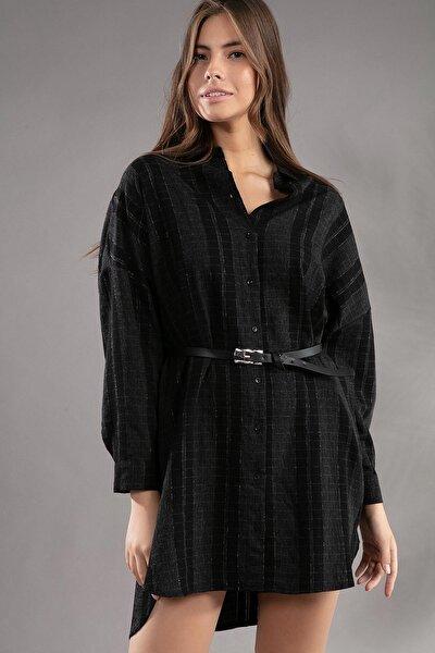 Kadın Kemerli Simli Ekose Yarasa Kol Gömlek Tunik 30701