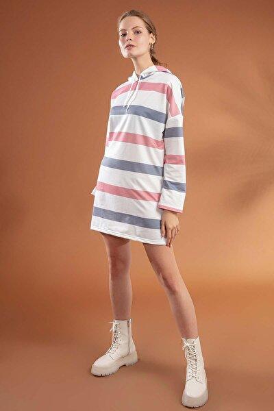 Kadın Çizgili Kapşonlu Oversize Elbise Sweatshirt Y20w110-4203