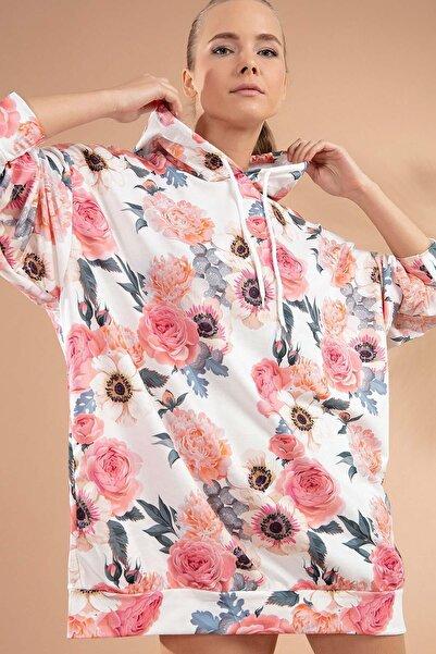 Kadın Çiçekli Kapşonlu Örme Sweatshirt Elbise Y20w110-4125-26