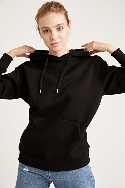Loose Fit Kapüşonlu Cepli Uzun Kollu Sweatshirt