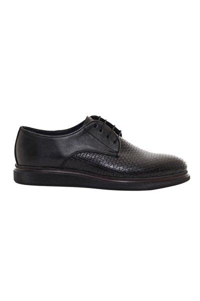 Erkek Bağcıklı Siyah Hakiki Deri Günlük Ayakkabı