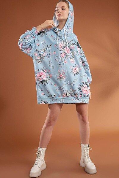 Kadın Çiçekli Oversize Elbise Sweatshirt Y20w110-4125-6