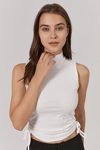 Kadın Yanları Büzgülü Fitilli Kolsuz Bluz Y20w145-ss020