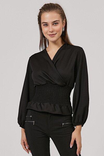 Kadın Kruvaze Yaka Büzgülü Bluz Y20w191-5222