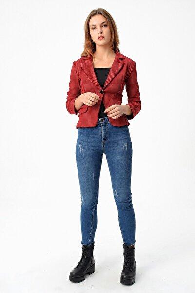 Kadın Kırmızı Mono Kazayağı Desenli Şık Kısa Ceket
