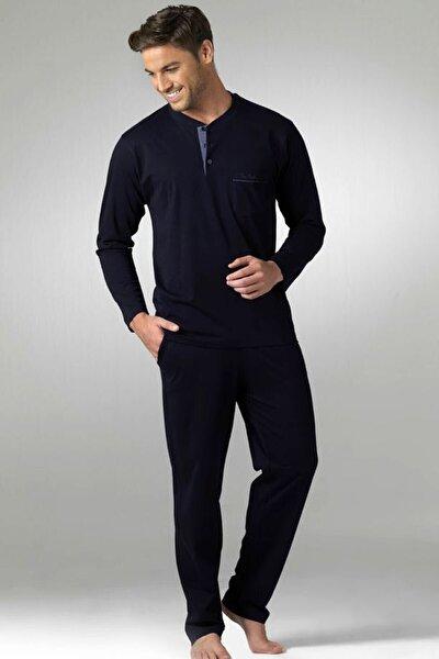 Erkek Lacivert Penye 2'li Pijama Takımı