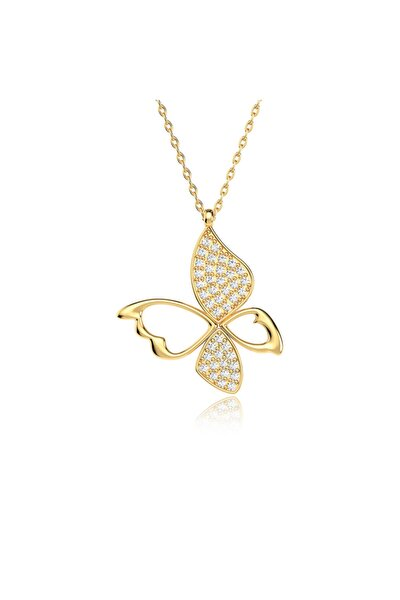 Uçan Kelebek Altın Kaplama Gümüş Kolye