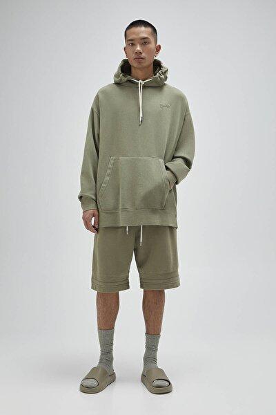 Erkek Haki Homewear Kapsül Koleksiyonu Kapüşonlu Sweatshirt