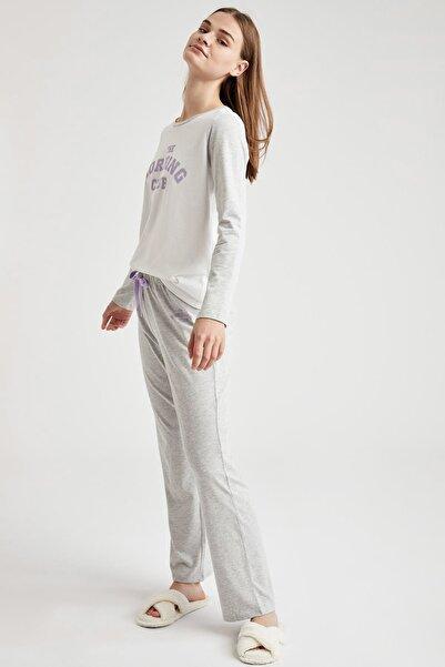 Kadın Grey Melange Yazı Baskılı Uzun Kollu Pijama Takımı T1204AZ20WNGR