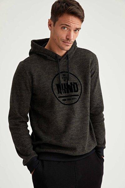 Regular Fit Kapüşonlu Baskılı Uzun Kollu Sweatshirt