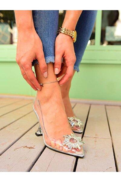 LEXI Güneş tokalı şeffaf topuklu ayakkabı