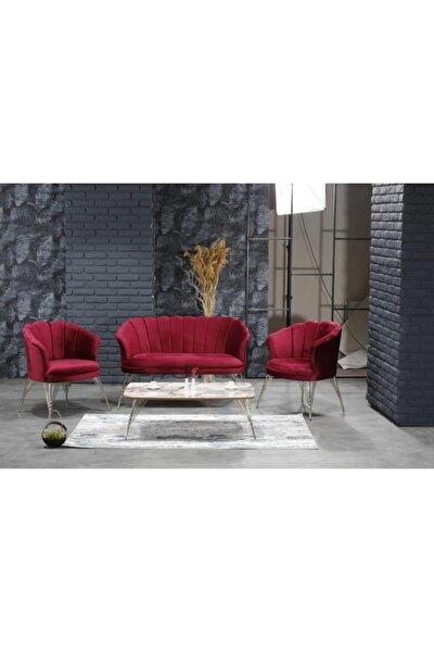 Kırmızı İstinye Salon Balkon Cafe Ofis Çay Seti 2-1-1