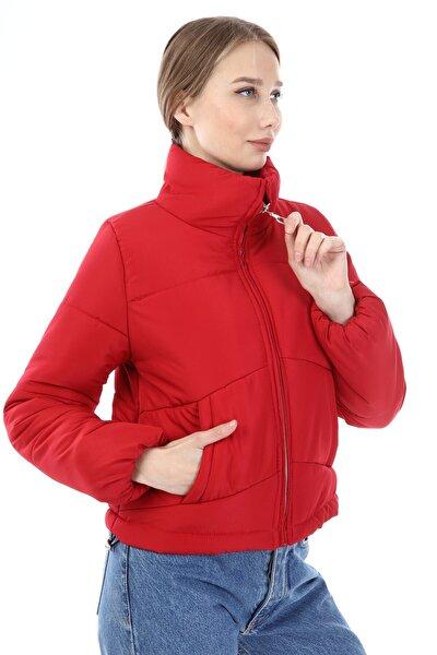 Kadın Kırmızı Içi Dolumlu Şişme Mont - 2347