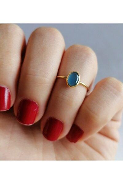 925 Ayar Gümüş Altın Kaplama Blue Quartz Minimal Yüzük