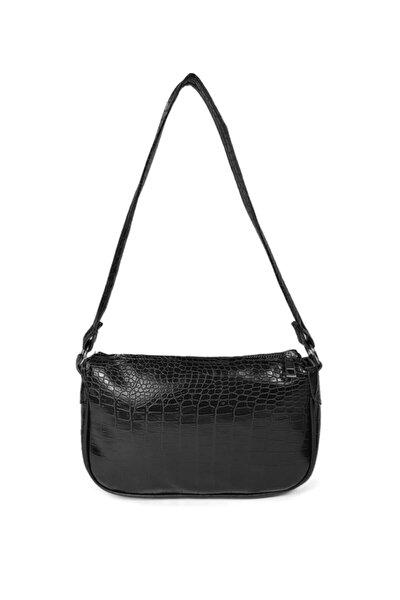 Siyah Kroko Desenli Ayarlanabilir Askılı Baget Baguette El Ve Omuz Çantası Gc011700k