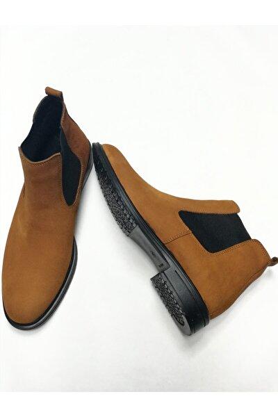 Erkek Taba Klasik Süet Deri Yanları Lastikli Günlük Ayakkabı