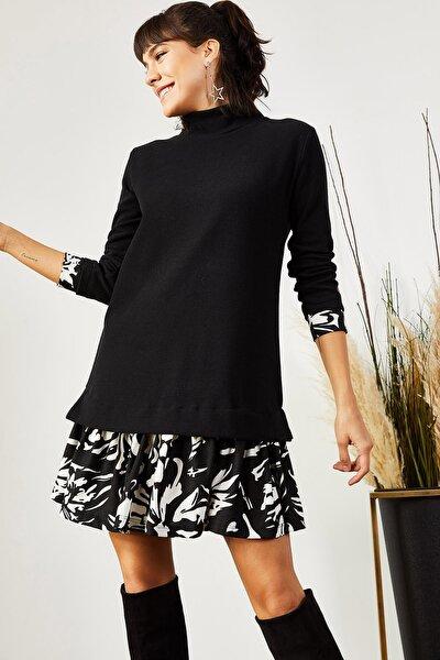 Kadın Siyah Beyaz Desenli Garnili Selanik Elbise ELB-19000965