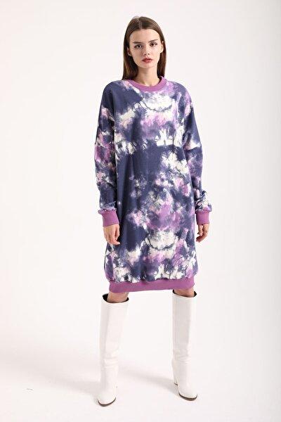 Kadın Mor Batik Sweat Elbise
