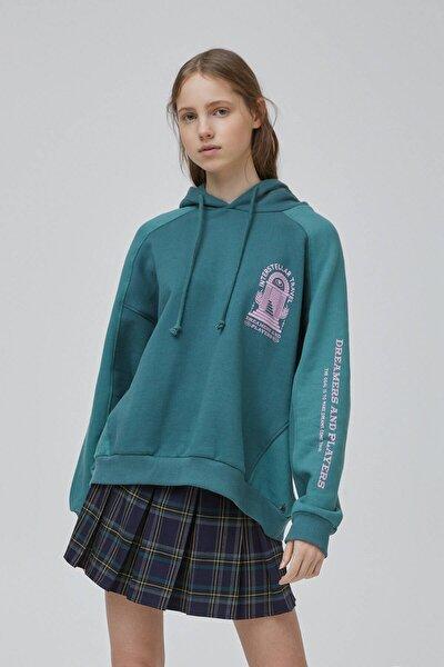 Kadın Şişe Yeşili Yeşil Blok Renkli Sweatshirt 09594347