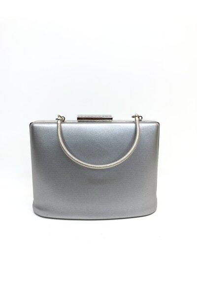 Kadın Gümüş Renk Kumaş Abiye Clutch Portföy Çanta