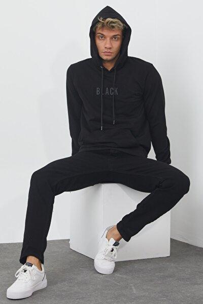 Black Erkek Siyah Kapüşonlu Ince Sweatshirt