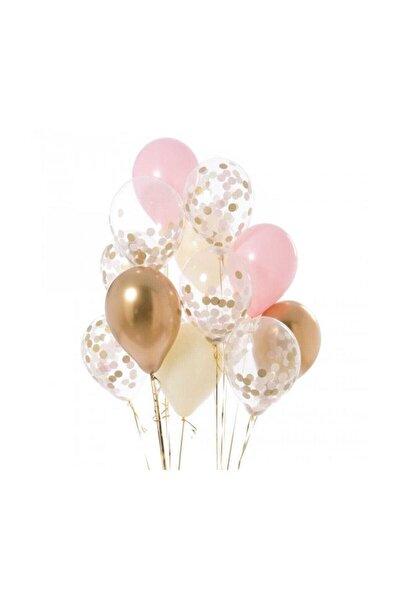 Gold Şeffaf Pembe Beyaz Bebek Konfeti Balonu
