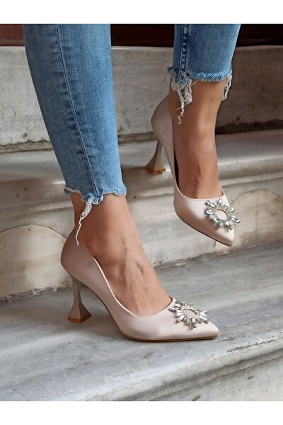 Kadın Ten Renk Güneş Taş Topuklu Ayakkabı 9 cm