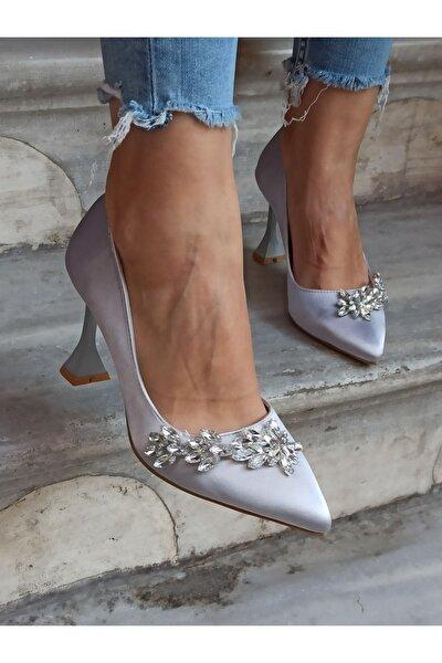 Kadın Gümüş Saten Yaprak Taş  Şampanya Topuk  Ayakkabı 9 cm