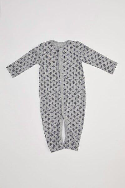 Erkek Bebek Desen Baskı Patikli Çıtçıtlı Tulum