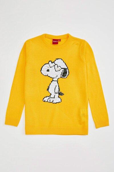 Kız Çocuk Snoopy Lisanslı Payet Detaylı Kazak