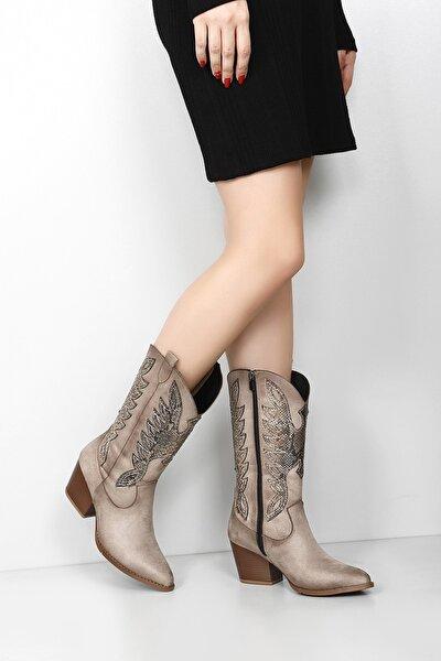 Gön Vizon Süet Sivri Burun Topuklu Western Kovboy Günlük Kadın Çizme 38601