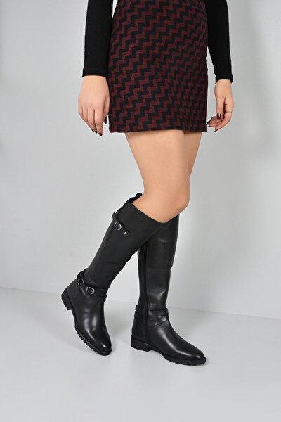Gön Hakiki Deri Siyah Tokalı Lastikli Binici Kısa Topuk Fermuarlı Günlük Kadın Çizme 63564